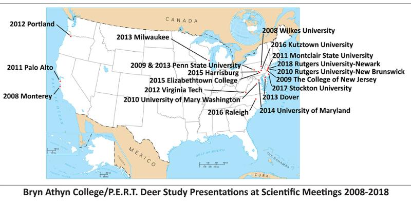 map of the united states with Bryn Athyn Collge deer study presentation locations