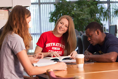 Bryn Athyn College students studying in the library