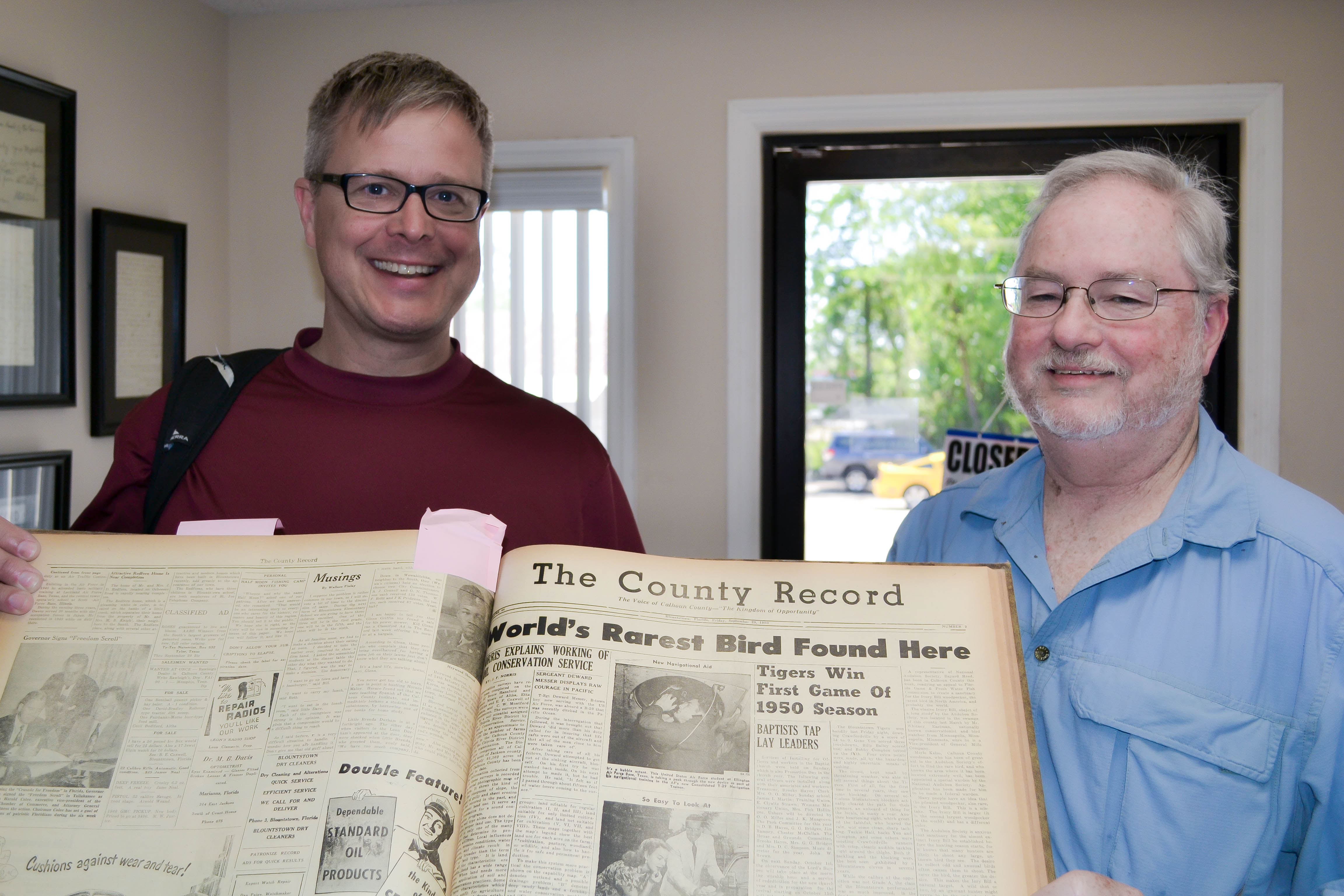 Bryntesson and Hunter at the County Record in Blountstown, Florida. Photo by Robert Turner.