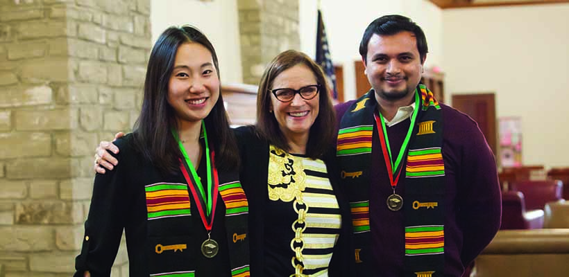 Bryn Athyn College students posing during the kente stole ceremony