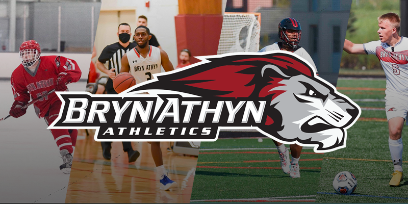 Collage of men's athletes and Bryn Athyn Lions logo