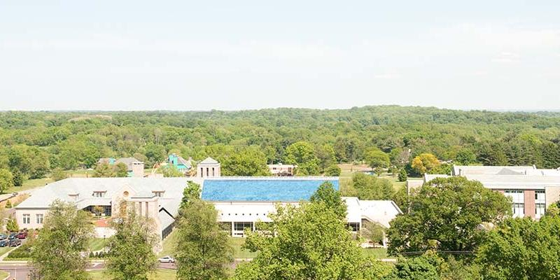 birds-eye view of campus on a very sunny summer day