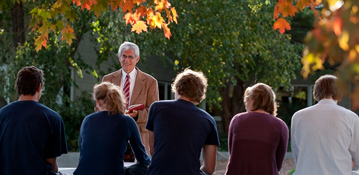 Rev. Silverman takes his class outdoors on a beautiful autumn day