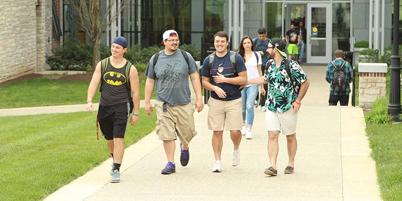 Students walking from Doering Center at Bryn Athyn College