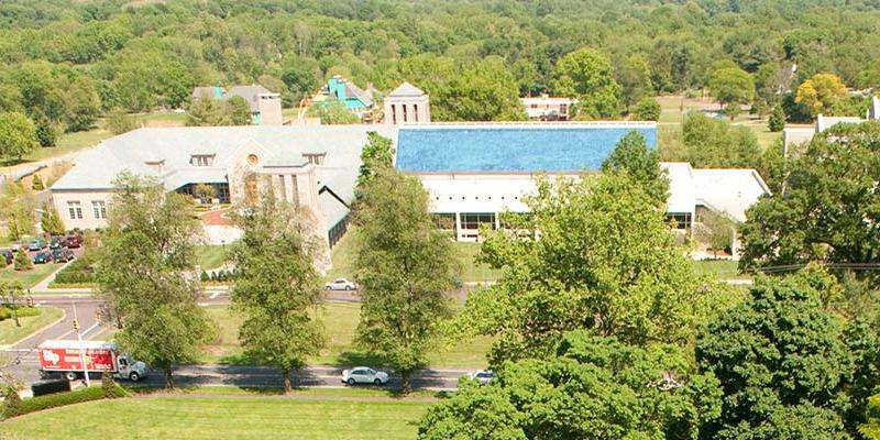 Aerial view of the Swedenborg Library, showcasing its iconic blue roof
